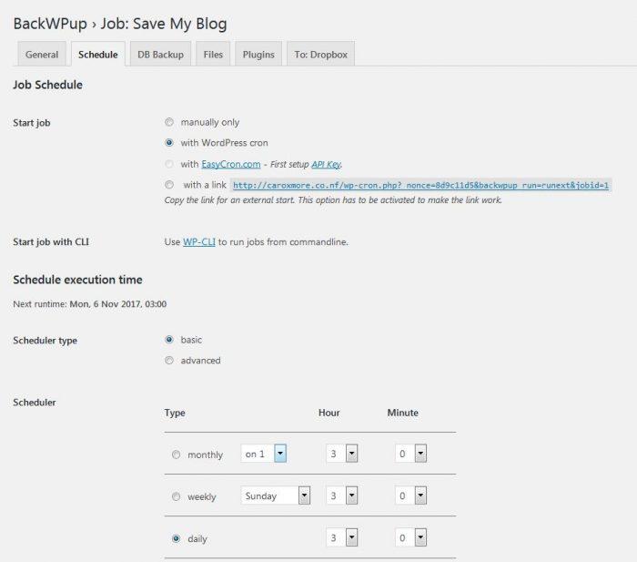 WordPress backup plugin