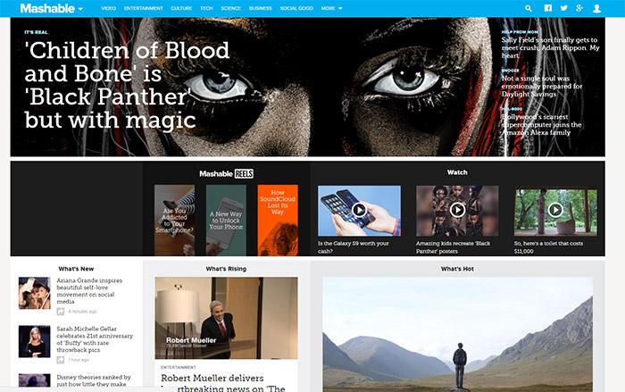 Mashable blog homepage